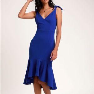 Lulus Royal Blue Trumpet Bodycon Midi Dress